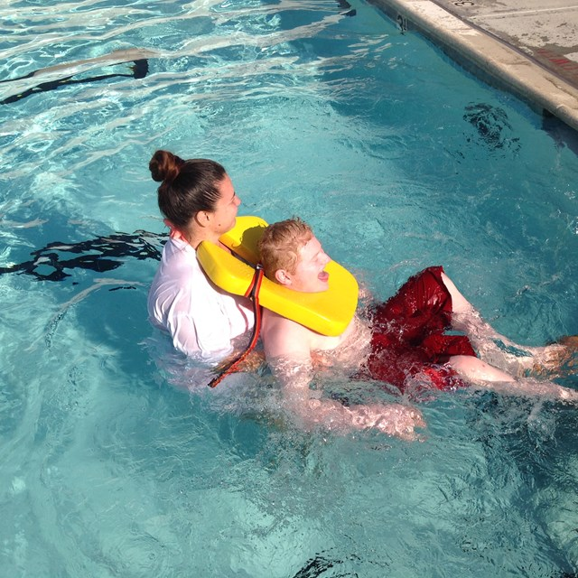 Students spend the day learning how to swim from these caring instructors.